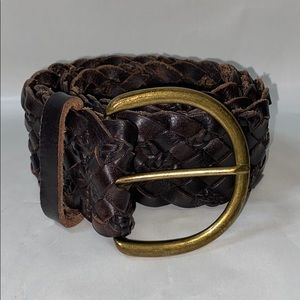 Woven leather bohemian wide brass buckle belt